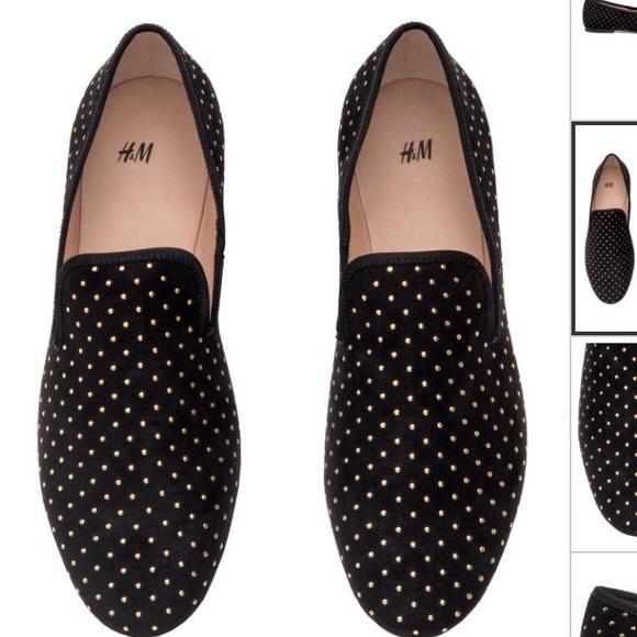 H\u0026M Shoes | Black Studded Loafers
